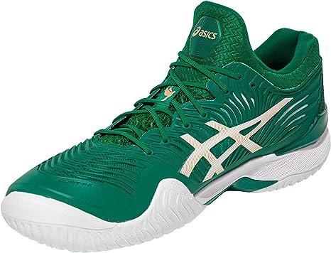 Asics Hommes Cour FF Novak Chaussures De Tennis Baskets 1041A089.100 Blanc Vert