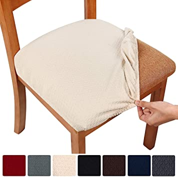 Amazon Com Smiry Stretch Spandex Jacquard Dining Room Chair Seat Covers Removable Washable Anti Dust Dinning Upholstered Chair Seat Cushion Slipcovers Set Of 4 Beige Furniture Decor