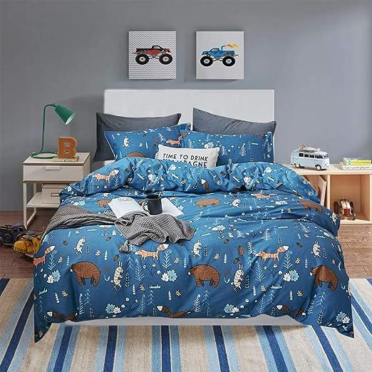 2 Pillow Shams JEEFTTBY Kids Bedding Set Cartoon Blue Polar Bear Duvet Cover Pillowcases Sets for Kids Girls and Boys 1 Duvet Cover