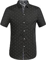 SSLR Men's Printing Button Down Casual Short Sleeve Shirts