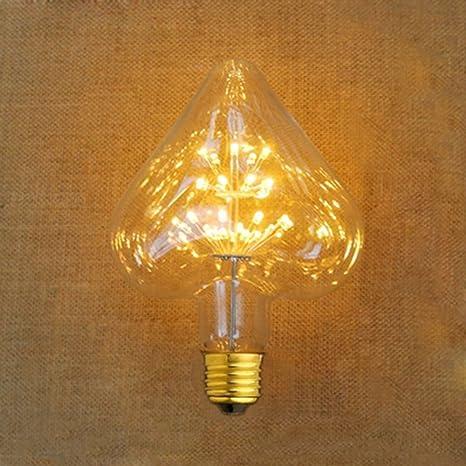XinRong E27 bombillas decorativas. Bombillas LED con forma de corazón, cielo estrellado