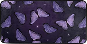 Oreayn Purple Butterfly Star Kitchen Mat Bath Door Sink Floor Mat Soft Absorbent Non Slip Rug for Bathroom Bedroom Living Room Home Decor 39 x 20 inches, Purple Starry Sky
