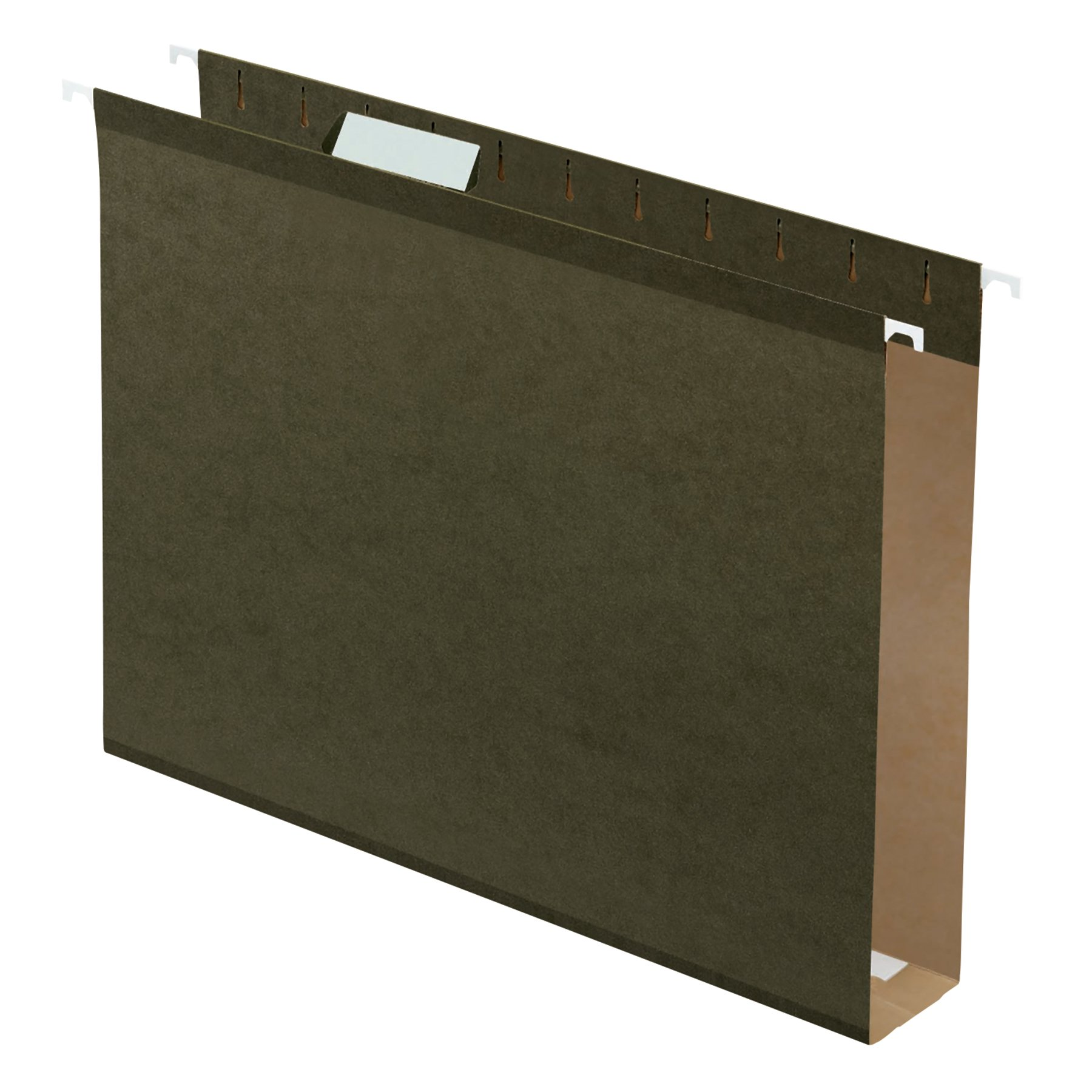 Pendaflex Extra Capacity Reinforced Hanging File Folders, 2'', Letter Size, Standard green, 1/5 Cut, 25/BX (4152x2)