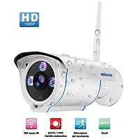 Telecamera IP Camera Esterno,SZSINOCAM 1080P Telecamera Videosorveglianza WIFI senza fili con Rilevamento del Movimento,Protezione dall'acqua Certificata IP66, Email Alert,Registrazione automatica