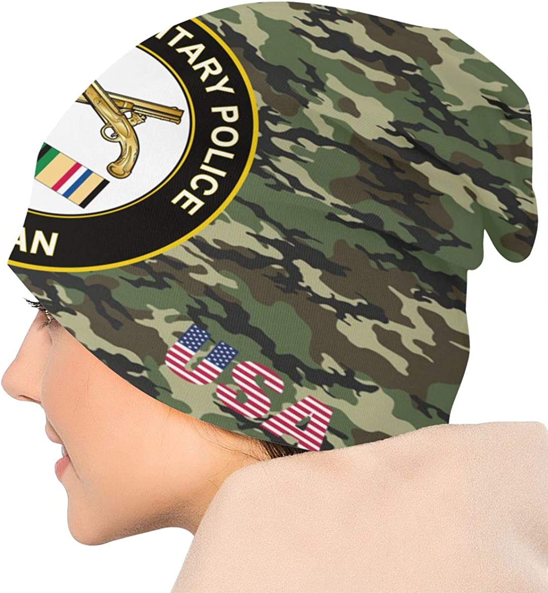 ZHONGHENJIUDIANC Unisex Beanie Caps Camouflage Army Military Police Gulf War Veteran 3D Printing Skull Cap