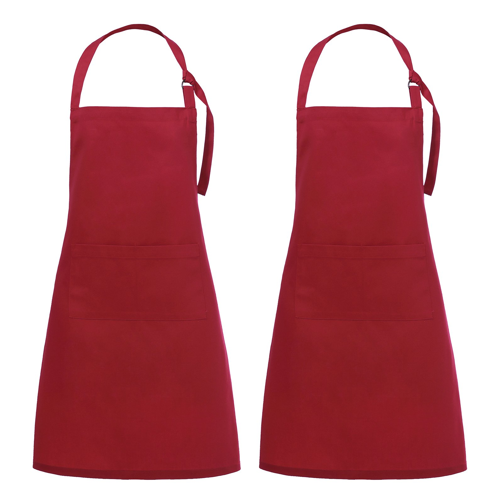 VEEYOO Adjustable Chef Bib Apron with 2 Pockets, Set of 2, Durable Spun Poly Cotton, Cooking Kitchen Restaurant Uniform Aprons for Men Women, 32x28 inches, Red (Available in 11 colors)