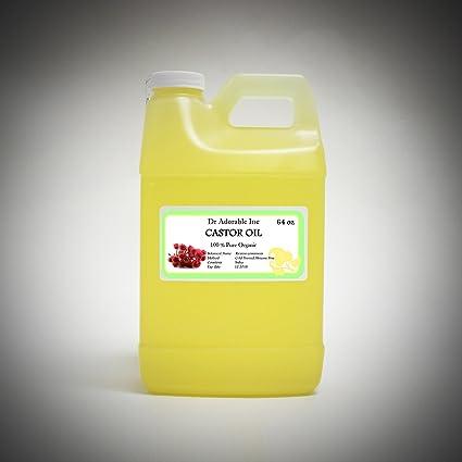 Aceite de ricino Virgen Orgánico Puro prensado en frío 64 Oz/2 cuartos