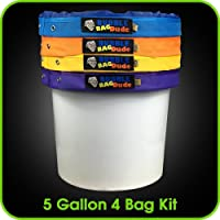 BUBBLEBAGDUDE Bubble Bags 5 Gallon Hash Bag Set - Herbal Ice Bubble Bag Essence Extractor Kit - Comes with Pressing Screen and Storage Bag - Waterproof