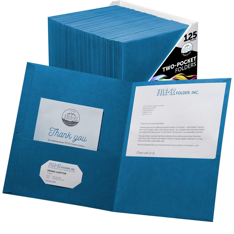 FILE-EZ Two-Pocket Folders, Light Blue, 125-Pack, Textured Paper, Letter Size (EZ-32420)