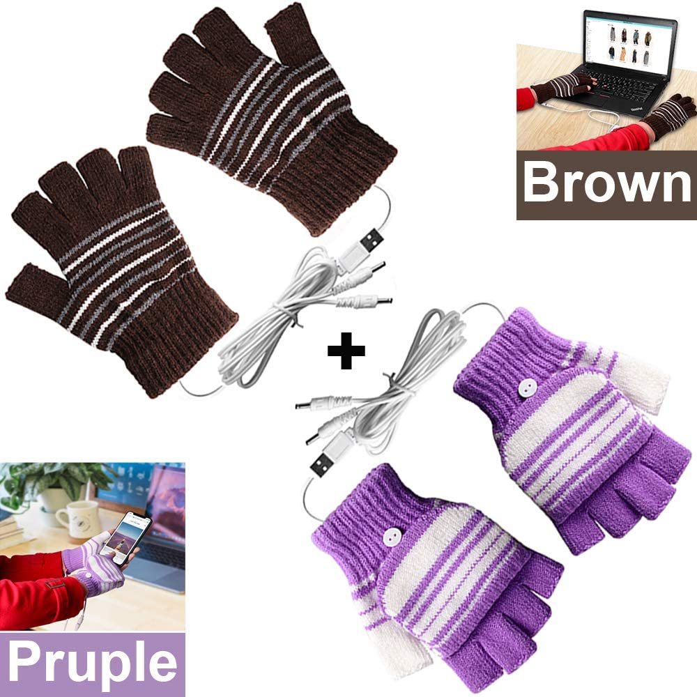 [2 Pack] USB Heated Gloves for Men and Women Mitten, USB 2.0 Powered Stripes Heating Pattern Knitting Wool Heated Gloves Hands Warmer Laptop Gloves Fingerless Washable Design Gift (Brown + Purple)