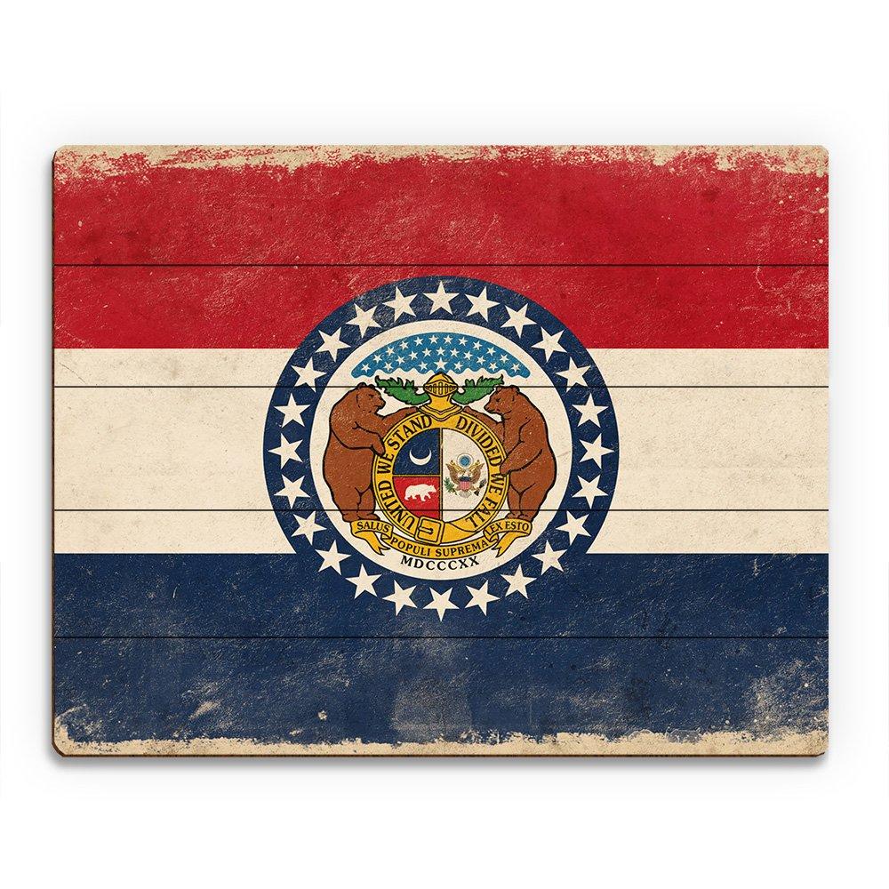Flag of Missouri - Light Paper Distressed State Flag Wall Art Print on Wood