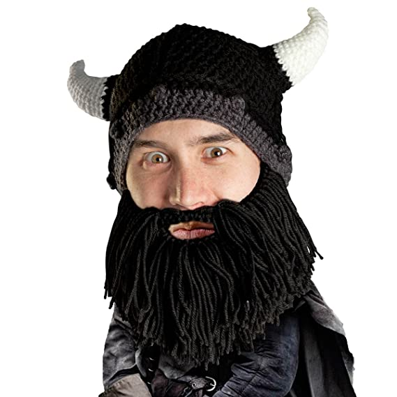Beard Head Viking Looter Beard Beanie Funny Knit Horned Hat And