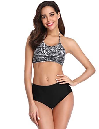 fc50182ae89 Amazon.com  LALAVAVA Womens High Waisted Bikini Set Halter Floral Print Two  Piece Swimsuits  Clothing