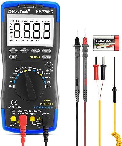 HOLDPEAK HP-770HC Digital Multimeter 6000 Counts Automatic Range Multi Meter Current Voltage DC AC Resistance Tester Overload Protection Voltage Checker Backlit