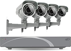 SVAT 8CH Smart Security DVR with 4 Super Resolution Outdoor 100ft Night Vision Security Camera with IR Cut Filter 500 GB HDD iPhone, Android, Blackberry, iPad, PC & Mac compatible - 11030