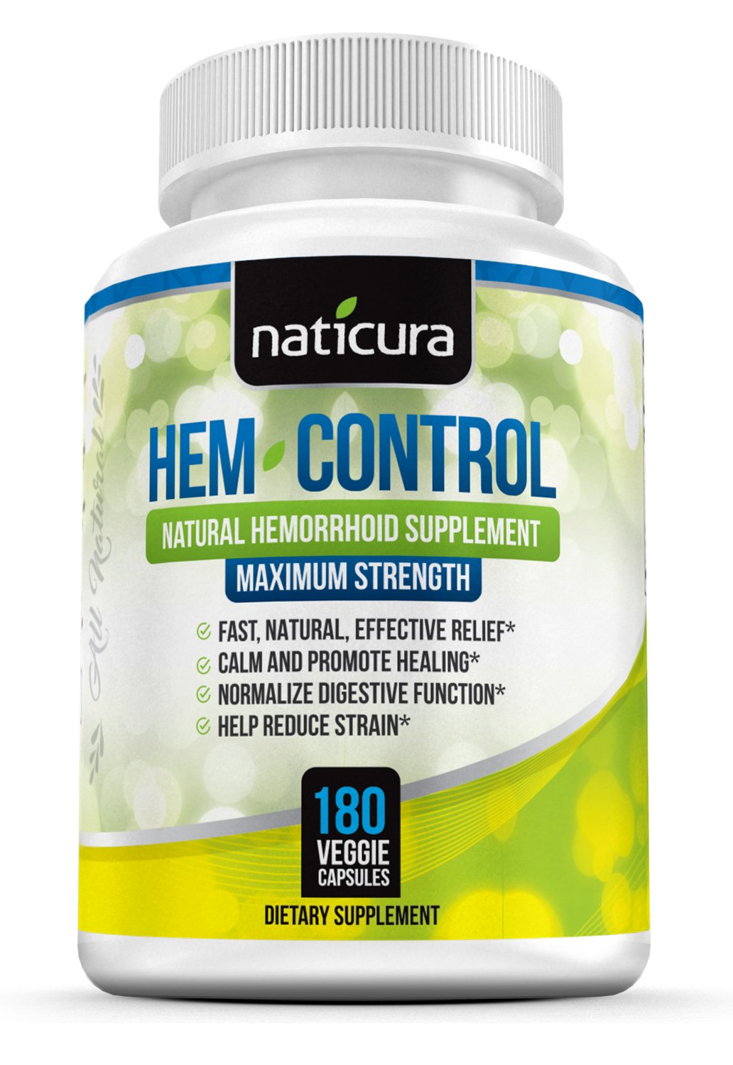 Naticura Hem-Control Herbal Hemorrhoid Remedy; 180 Capsules for Hemroid Pain Relief & Colon Health With Blond Psyllium Husk. Naturally Sourced. 2 Months Supply