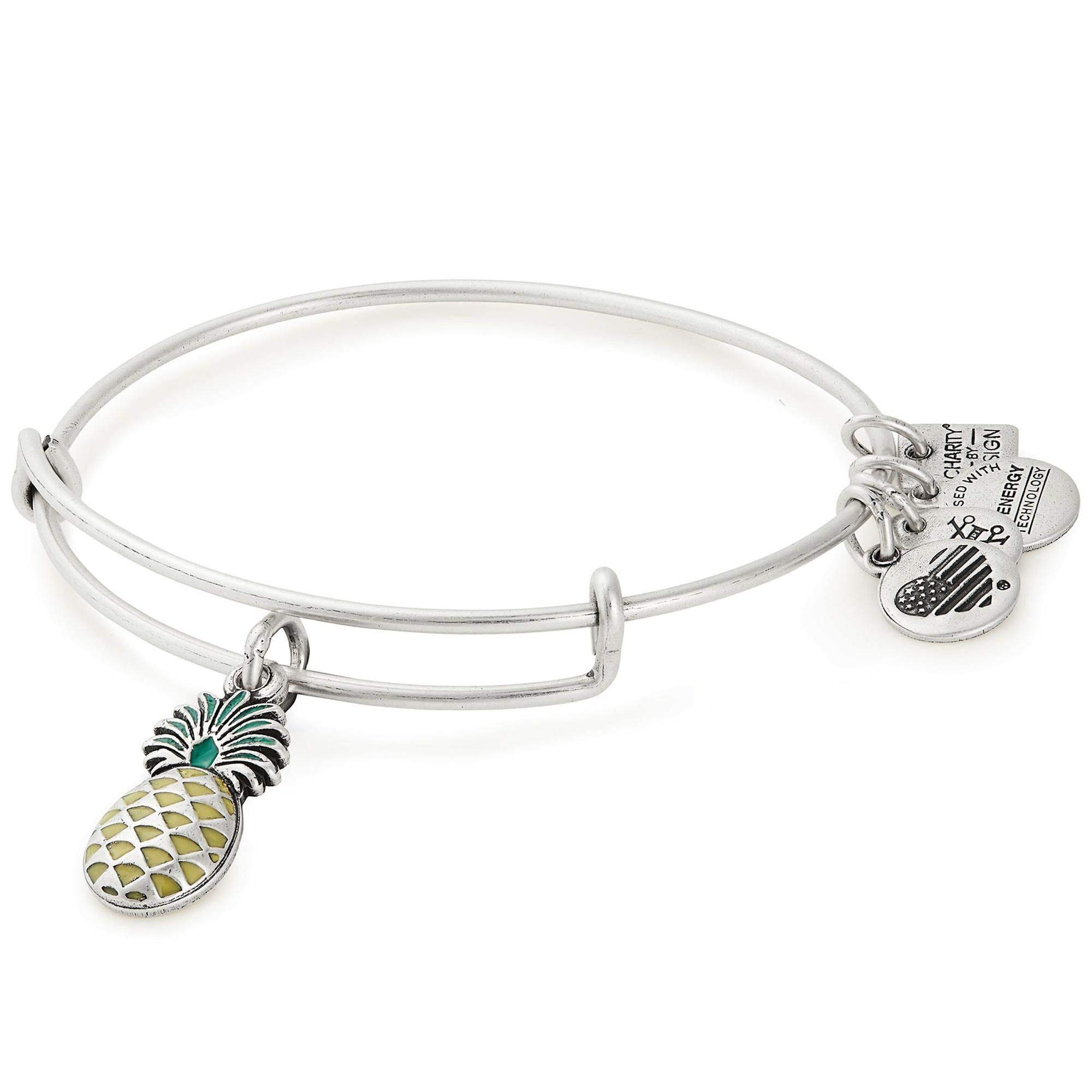 Alex and Ani Women's Charity by Design, Pineapple Charm Bangle Rafaelian Silver One Size