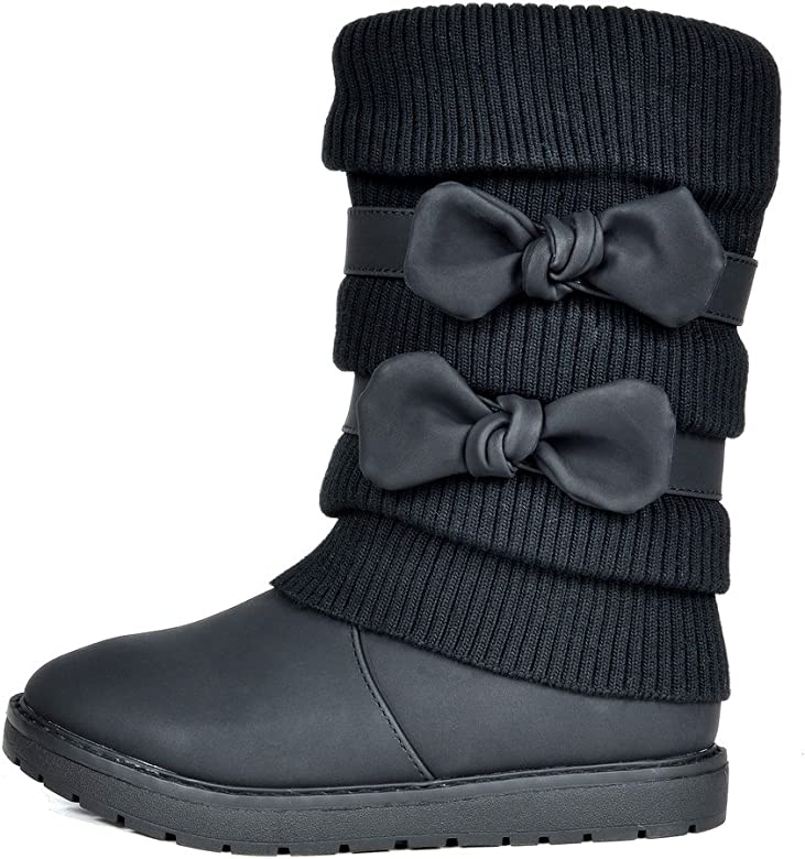 858ce21d22601 DREAM PAIRS Toddler Klove Black Faux Fur Lined Mid Calf Winter Snow Boots  Size 8 M. Back. Double-tap to zoom