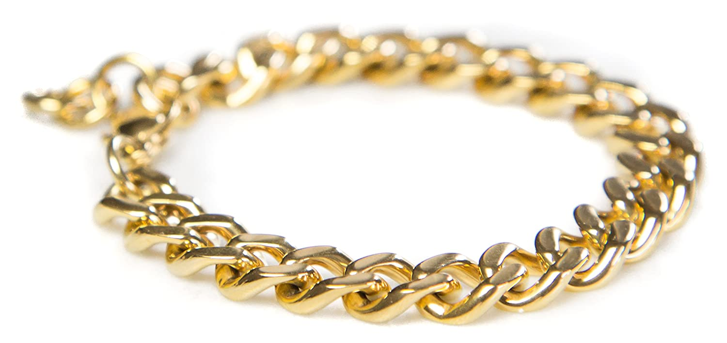 Benevolence LA Gold Bracelets for Women: Cuban Curb Chains in 14k Gold Dipped Curb Chain or Rose Gold for Charity 500011