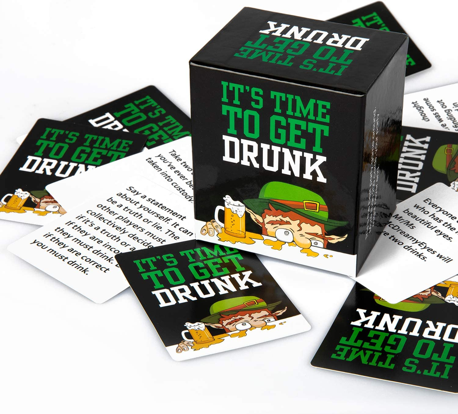 IT'S TIME TO GET DRUNK-Party Card Game To Play With Friends/Family, Games Night at Party, College, Camping, Dinner- FUN Adult Party Drinking Game for Men & Women