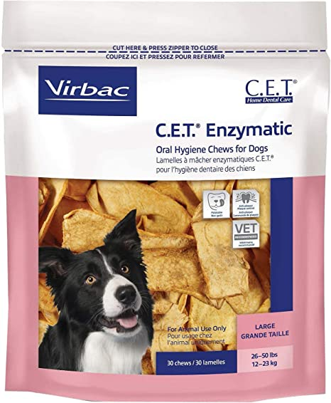 Virbac C.E.T. Enzymatic Oral Hygiene Dogs Chews Treat Plaque Control Medium 30ct