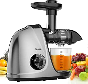 Jocuu Slow Masticating Juicer Machines with Brush & Recipes, Juice Extractor for Fruits and Vegtables with Quiet Motor Easy to Clean, Gray