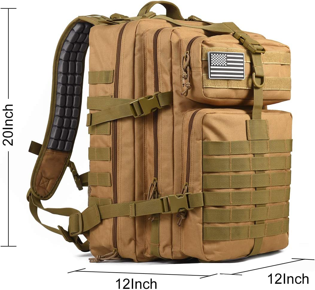 Hunting Trekking Auzkong Military Backpack Tactical Backpack 45L Army Assault Pack Molle Bag Heavy Duty Waterproof Backpack with Comfortable Air Cushion Shoulder Straps for Army Motorcycle