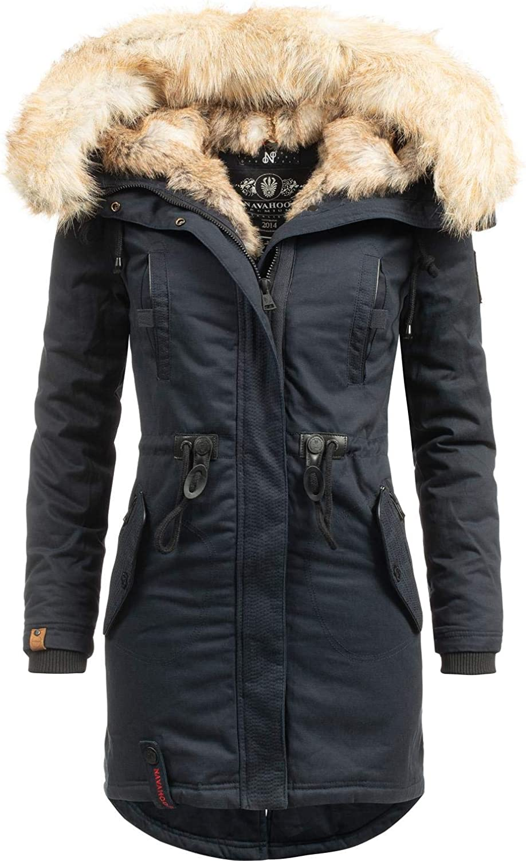 Cappotto invernale da donna con cappuccio in cotone taglie XS-XXL Navahoo con pelliccia sintetica