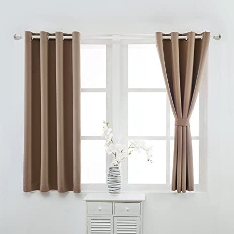 YOJA Thermal Insulated Short Blackout Curtains Grommet Drapes For  Bedroom,Light Coffee,52u0026quot;