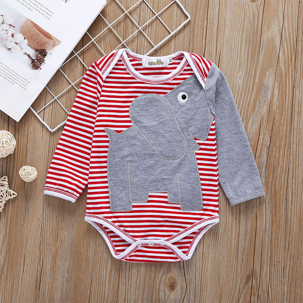 Neugeborene Babybody Jungen M/ädchen Herbst Strampler Langarm Elefant Gedruckt Overall Tops Amcool-baby Kleidung 0-24 Monate