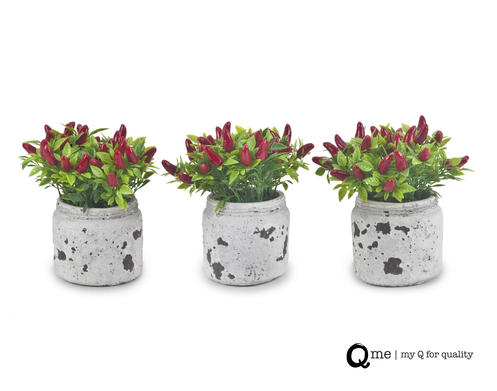 Q me Set of 3 Artificial Potted Chili Plant: Lifelike Looking Green-Leaf Plant in Vintage Mason Jar with 24 Red Chili Peppers for Home or Work Décor or Gift by Q me