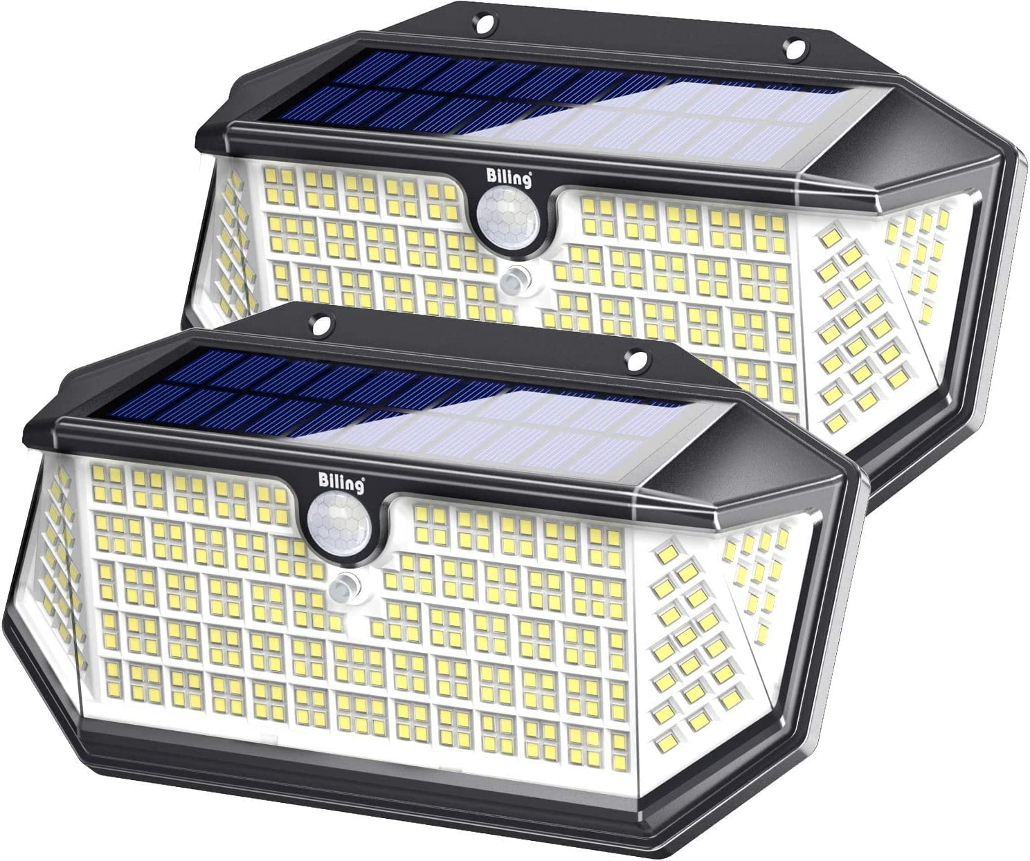 Billing 266 luces LED solares para exteriores con reflector, luces de seguridad con sensor de movimiento solar a prueba de agua IP65, luces de pared inalámbricas de 3 modos para jardín, patio(2 Pack)