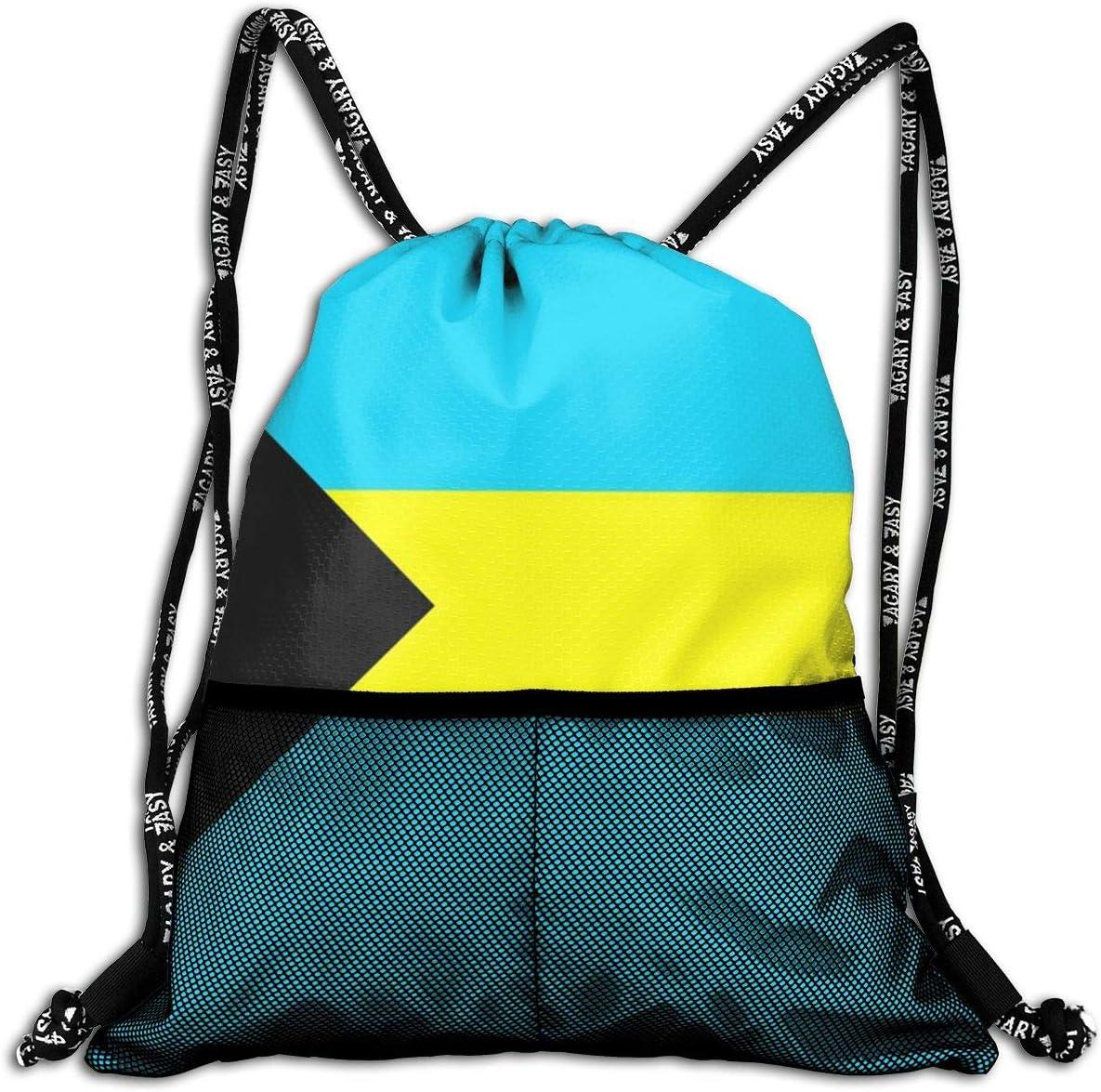 Drawstring Backpack Bahamas Flag Shoulder Bags