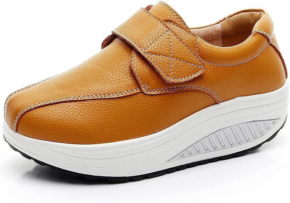 rismart Mujer Cuña Bucle Cómodo Plataformas Cuero Zapatillas Zapatos