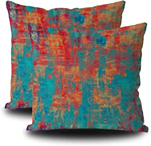 SVITFAMLI Set of 2 Rust Art Pillow Case Old and Weathered Grunge Texture Patterns Cyan Red Orange Yellow Beige Throw Cushion Cover 16 x 16 Inch Home Decor Pillowcase