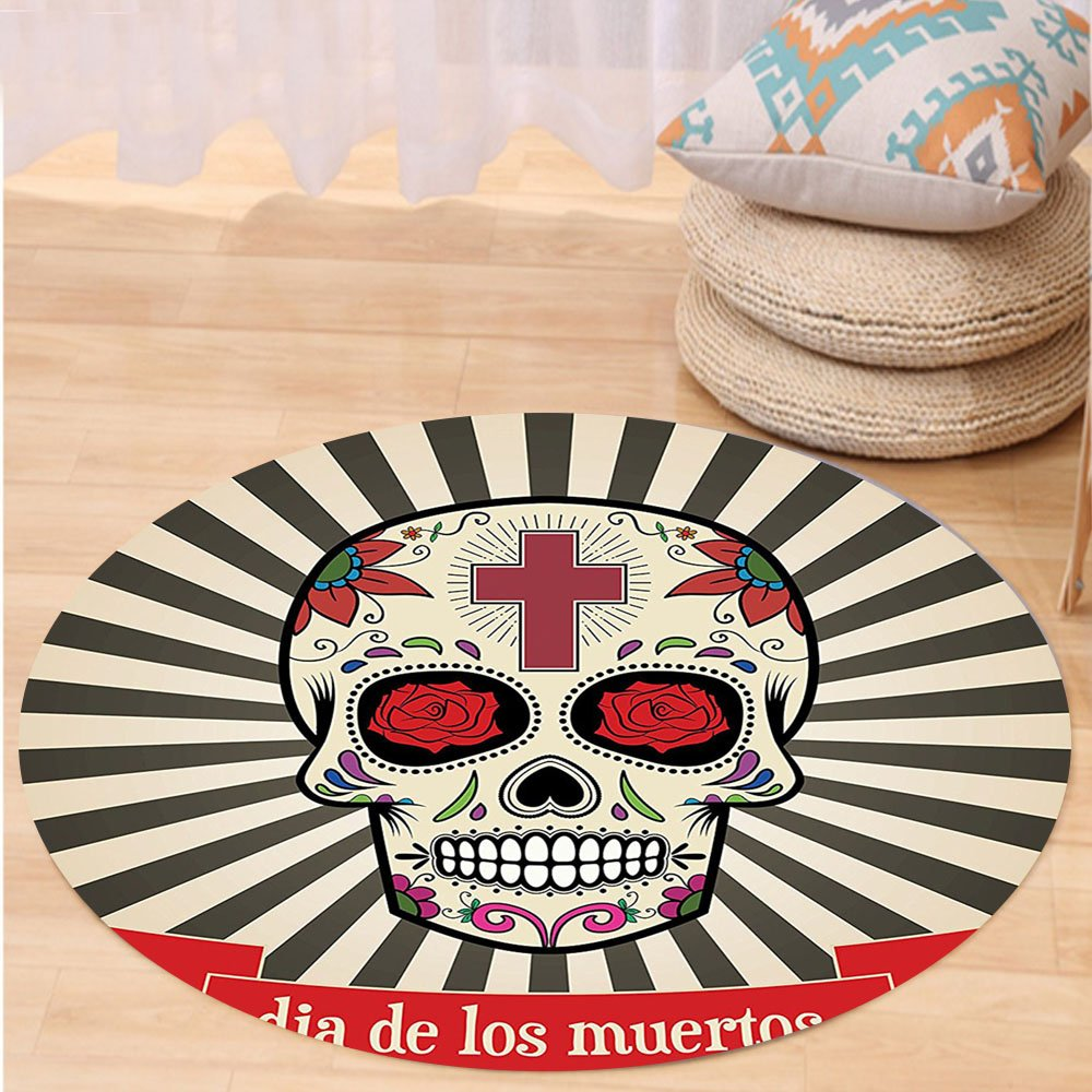 VROSELV Custom carpetDay Of The Dead Decor Floral Sugar Skull with Christian Cross on Sunburst Pattern for Bedroom Living Room Dorm Grey Beige and Red Round 72 inches by VROSELV