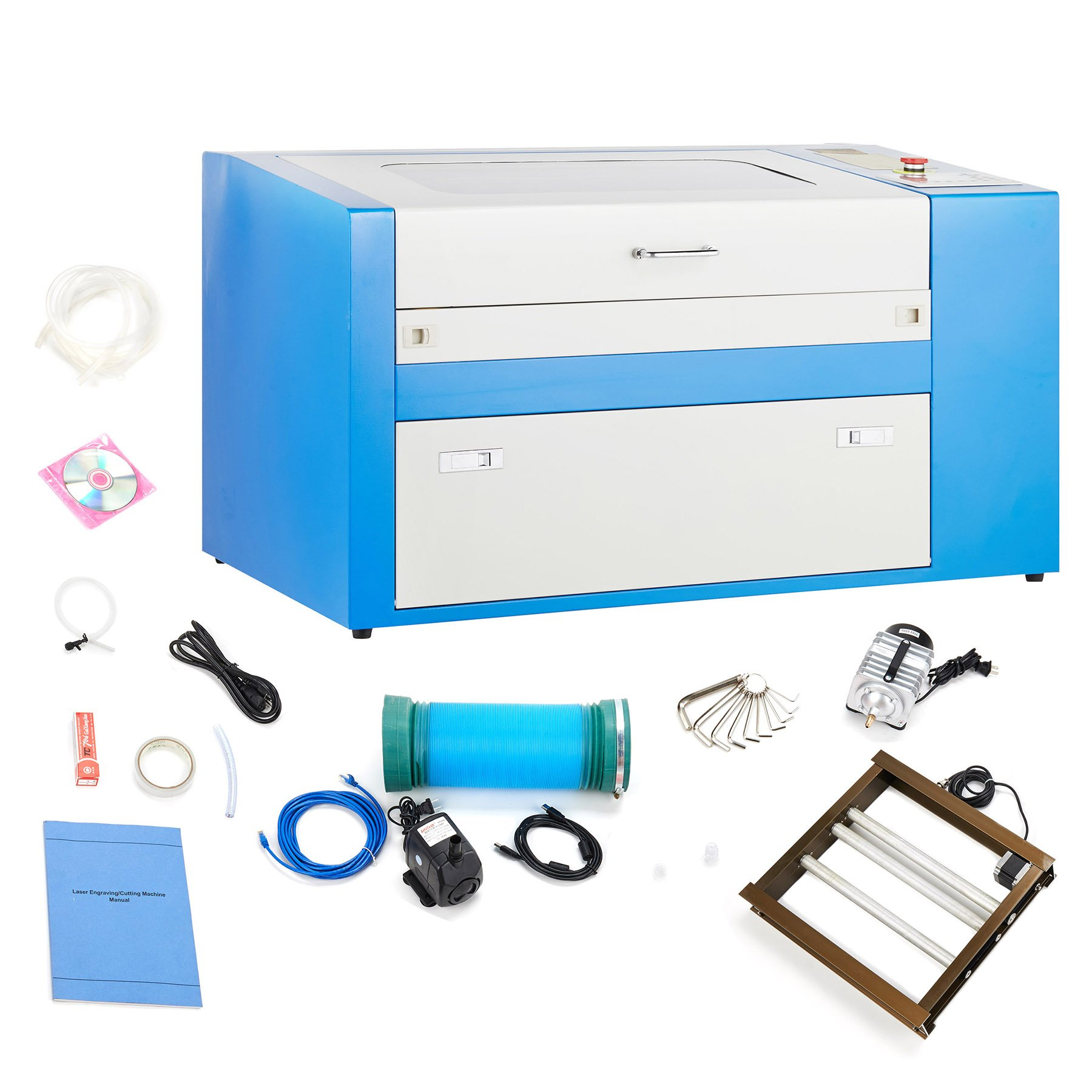 Orion Motor Tech 50W 110V CO2 Laser Engraving Machine Engraver Cutter Auxiliary Rotary Device