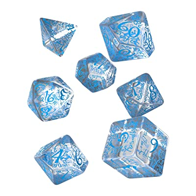 Elvish Dice Transparent/Blue (7): Toys & Games