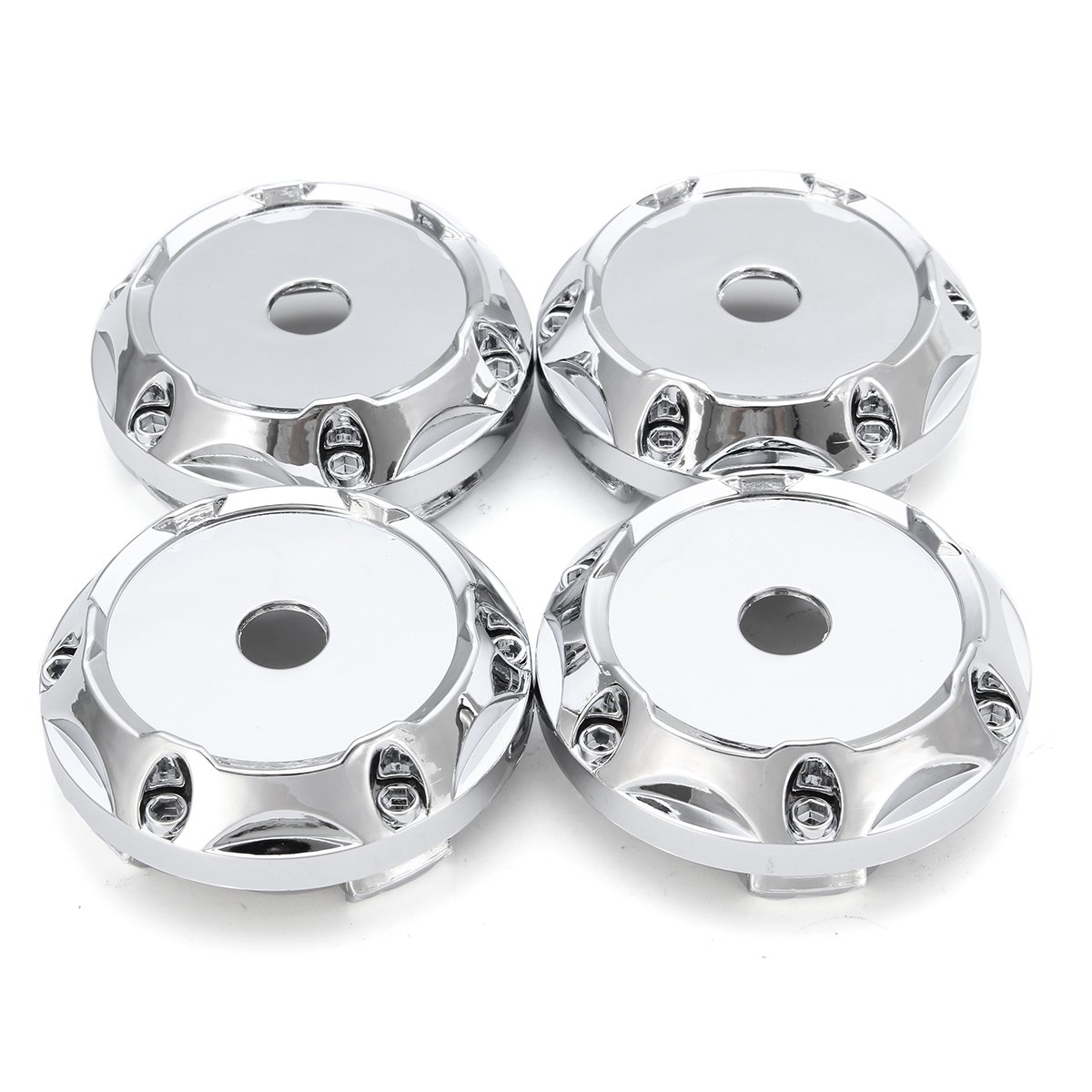 CoCocina 4PC 64mm ABS Silver Wheel Center Hub Caps Wheel Center Emblem