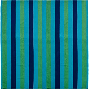 Cotton Craft - Beach Towel 58x68 - Cabana Stripe Navy Green Turquoise - Beach Blanket -