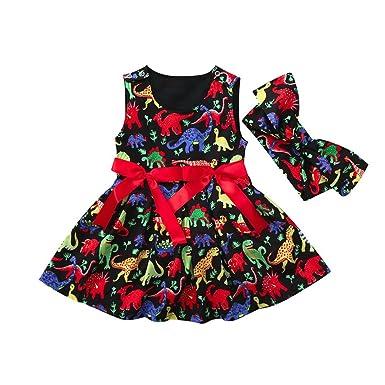 Mounter Robe D été De Fille Enfant En Bas âge Dessin Animé Dinosaure Coloré Sans Manches Arc Cravate Robe Bandeau Vêtements Costumes Jupe 12mois 4ans