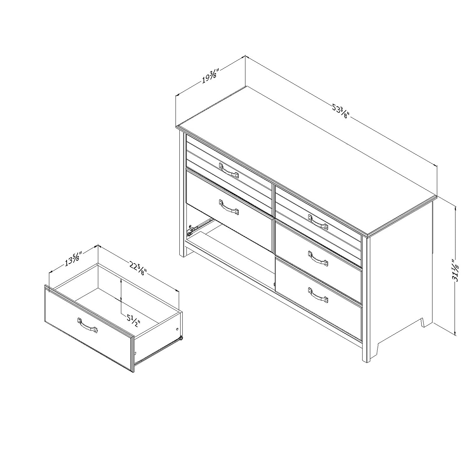 Blueberry South Shore Furniture Ulysses 6-Drawer Double Dresser