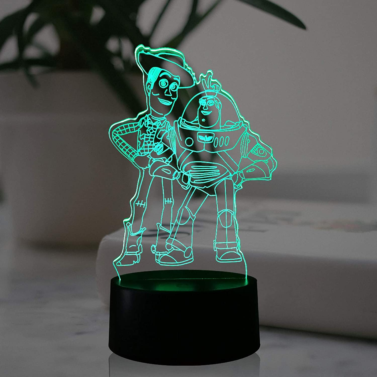 Toy Store Buzz Light Year Woody LED Cartoon Lamp for Boy Bedroom Smart Sensor USB Touch Change Multi-Colored 7 Color RGB Decor Mood Table Night Light Kids Birthday Kids Gift(Buzz Light Year Friends)