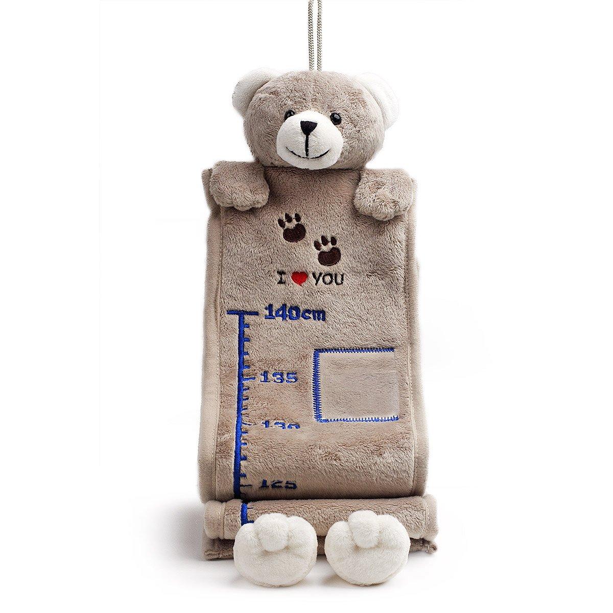 Bear of Allan Stuffed Animal Growth Chart 65 Inch (Gray Teddy Bear)
