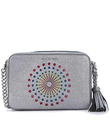 7dc43f41a8cb Michael Kors Women s Michael Kors Ginny Silver Metallic Leather Light-up  Cross-body Bag With Stars Silver  Handbags  Amazon.com