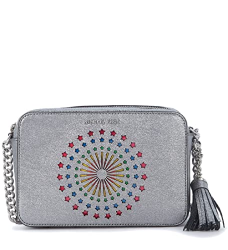 ae5e3cad50 Borsa a tracolla Michael Kors Ginny in pelle metallizzata argento con  stelle: Amazon.co.uk: Shoes & Bags