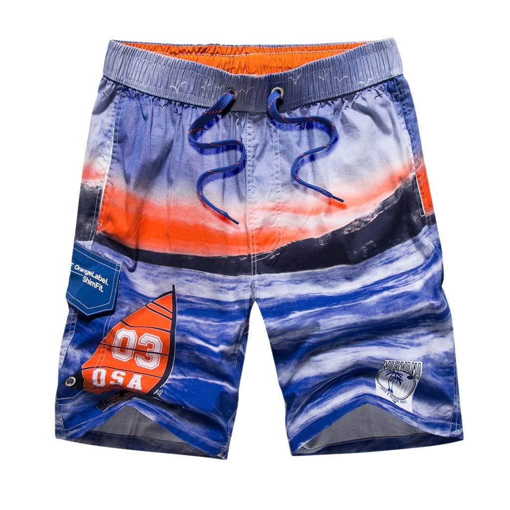 Ninasill Hot!Mens Marine Printing surf Quick Drying Tethered Beach Shorts Couple Sports Shorts Large Size Swimming Trunk