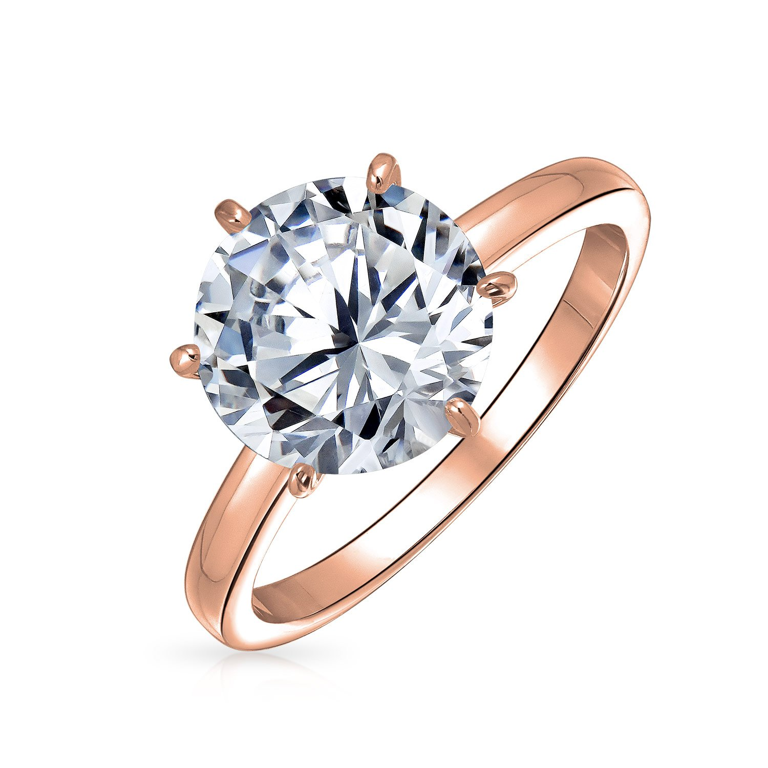 Rose Gold Plated Brass Round CZ Solitaire Engagement Ring