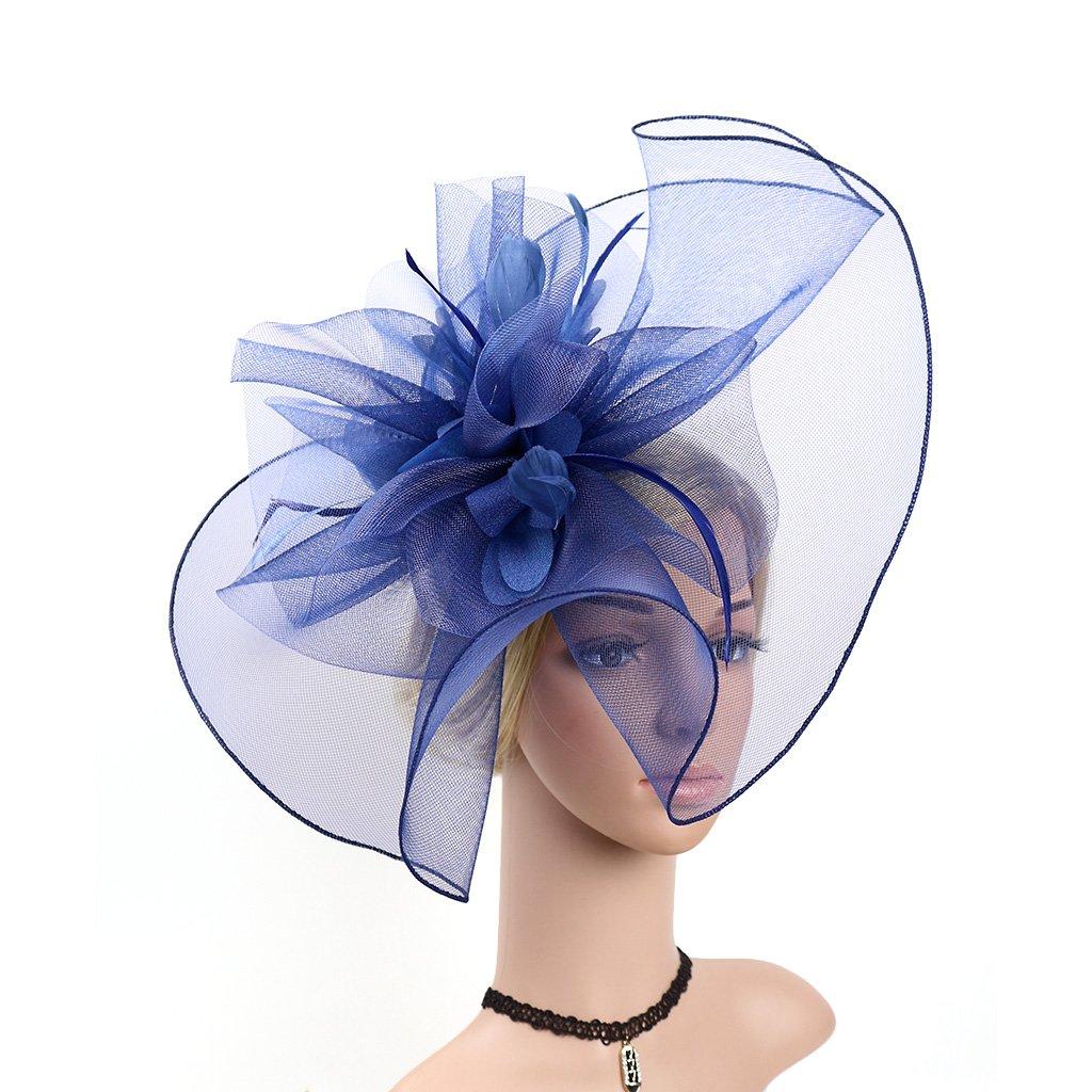 LATIMOON Women's Kentucky Derby Hats Veil Mesh Flower Feather Fascinators Hair Clip Head Hoop Art Deco (Navy Blue)