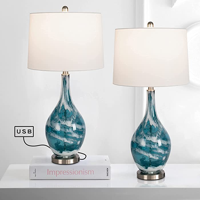 Maxax Glass USB Table Lamps Set of 2 Modern Bedside Desk Lamp with White Linen Shade for Living Room Bedroom Coffee Table, Blue Finish